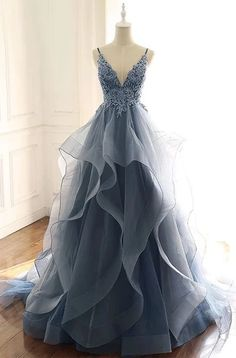 Blue Gray Tulle V Neck Long Ruffles Prom Dress, Lace Evening Dress from Sweethea. - Blue Gray Tulle V Neck Long Ruffles Prom Dress, Lace Evening Dress from Sweetheart Dress- Source by annikaephotos - Pretty Prom Dresses, Lace Evening Dresses, Elegant Dresses, Homecoming Dresses, Lace Dress, Tulle Lace, Sexy Dresses, Formal Dresses, Summer Dresses