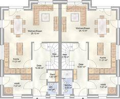 DUO 112 - das Doppelhaus mit je 112 qm Grundriss - Erdgeschoss Grundriss je 60,19 qm