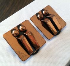 Unique vintage 1940s - 1950s modernist copper earrings by TheElegantCollector