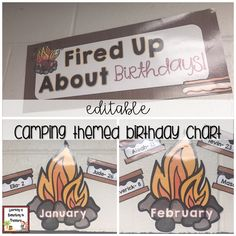 This camping themed birthday chart is EDITABLE for your classroom needs. It is a cute way to display your student birthdays throughout the school year. It can be displayed on a bulletin board or wherever you find room in your classroom. Each month is displayed on a campfire and student names and day of their birthday can be typed or written on a s'more. The s'mores can be placed around the campfire.