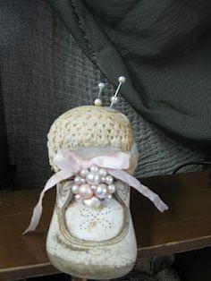 Aged Baby Shoe Pin Cushion: