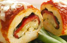 Chicken mozzarella rollups.  You could do so much with these. Fill with pepperoni, spinach, alfredo or tomatoe sauce. The possibilities are endless..