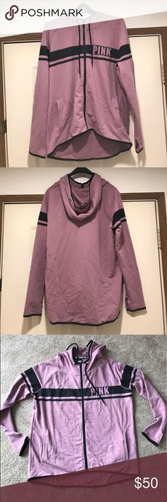 Victoria's Secret PINK Mauve Zip Hoodie Never worn. New w/o tags. Just sitting in my closet. Pretty mauve, dusty rose / pink color with black trim. Very cute!  Slight funnel zip up neck and cut outs in the sleeves for the thumbs. PINK Victoria's Secret Jackets & Coats