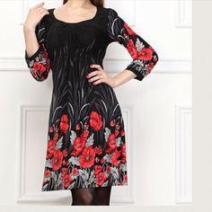 Nwt**Scoop Neck Printed Dress
