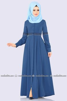 moda selvim Pile Detay Nakışlı Ferace 9028W153 İndigo Elegant Midi Dresses, Modest Dresses, Stylish Dresses, Abaya Fashion, Women's Fashion Dresses, Muslim Women Fashion, Hijab Fashionista, Sleeves Designs For Dresses, Kurta Designs Women