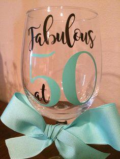 Custom 50th Birthday Wine Glass