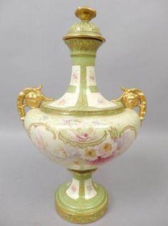 Ornate-Antique-19c-Floral-Gilded-Decorated-German-Royal-Bonn-Covered-Urn