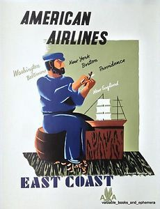 1948 Kauffer American Airlines EAST COAST Original Vintage Airline Travel Poster