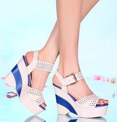 Verano de las mujeres de Cuero Genuino Cuñas de Tacón Grueso Peep Toe Del recorte Sandalias Del Abrigo Del Tobillo Tamaño de Los Zapatos 34-39 SXQ0908