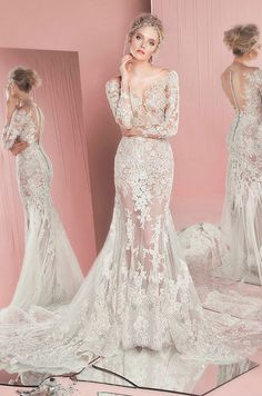 Sexy lace illusion wedding dress by Zuhair Murad, Spring 2016