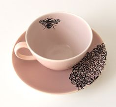 Queen Bee teacup and saucer by yvonneellen on Etsy, $26.00