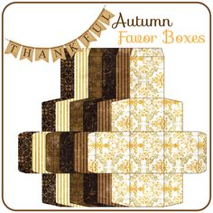 Free Printable Autumn Favor Boxes Paper Box Template, Box Templates, Favor Boxes, Gift Boxes, Party Gift Bags, How To Make Box, Gift Tags Printable, Gift Wrapping, Wrapping Ideas