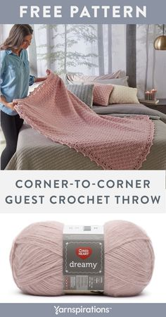 Free crochet pattern using Red Heart Dreamy yarn. Free Easy Corner-To-Corner Guest Throw crochet pattern. This timeless crochet throw pattern has a delightful stitch pattern and gorgeous border. It is an easy pattern that will complete your bedroom décor. Crochet Throw Pattern, Easy Crochet Blanket, C2c Crochet, Crochet Bebe, Afghan Crochet Patterns, Love Crochet, Crochet Stitches, Crochet Throws, Knitted Throw Patterns