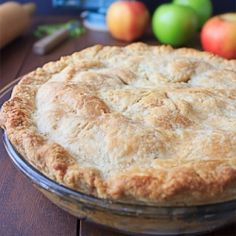A simple apple pie recipe with a crust that uses butter instead of shortening.