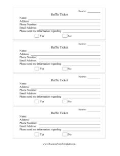 Insert names and contact information onto these white raffle tickets for fundraisers and giveaways. Free to download and print