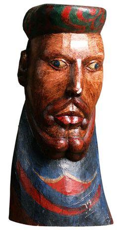 Arte Popular do Brasil: Maurino Araújo. Maurino Araújo, O mercador, madeira policromada. Reproduçao fotográfica Rugendas Galeria de Artes, Belo Horizonte-MG.