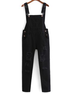 Shop Strap With Pocket Ripped Denim Jumpsuit online. SheIn offers Strap With Pocket Ripped Denim Jumpsuit & more to fit your fashionable needs. Girls Fashion Clothes, Teen Fashion Outfits, Edgy Outfits, Cute Casual Outfits, Gothic Fashion, Denim Noir, Ripped Denim, Black Denim, Denim Jumpsuit