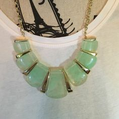 SALE Gold and Turquoise statement necklace Opaque turquoise stone look alike, the gold pieces have distress to it, to make it look like a vintage design. The back clasp is adjustable. Super cute for summer time!! Charming Charlie Jewelry Necklaces