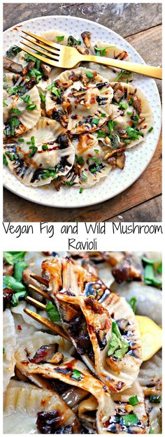 Super easy vegan pasta dough filled with fig paste and sauteed wild mushrooms and garlic. This ravioli is delicious and perfect for fall and winter!