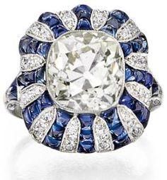 Luscious Art Deco diamond and sapphire ring.
