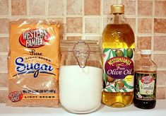 homemade sugar scrub: brown sugar, white sugar, olive oil and a touch of vanilla... easy.