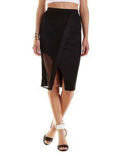 Asymmetrical Mesh Wrap Midi Skirt: Charlotte Russe #midiskirt #spring #asymmetrical