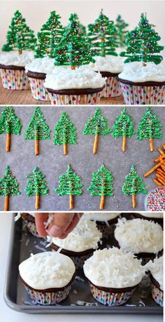 Christmas Tree Cupcakes: Decorate your simple chocolate cupcakes into cute little Christmas trees with help from pretzels, icing and colorful sprinkles. Get the recipe here. Christmas Tree Cupcakes, Christmas Party Food, Christmas Cooking, Noel Christmas, Christmas Goodies, Christmas Crafts, Christmas Sprinkles, Christmas Hair, Holiday Baking Ideas Christmas