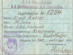 Legitimation Ernst Kutzer Poster, Personalized Items, Cards, Postcards, Sketches, Maps, Movie Posters