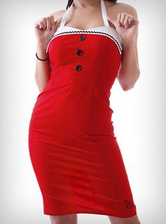 Retro Red Sailor Sparrow Dress   PLASTICLAND $62.00