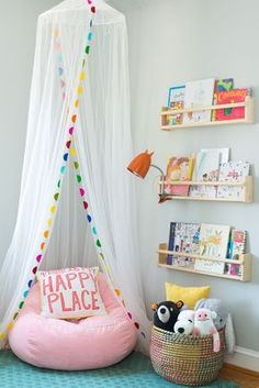 kid reading nook with book ledges, girl bedroom decor with canopy and reading corner, playroom decor for girls bedroom ideas toddler Toddler's Whimsical Bedroom Makeover Playroom Design, Playroom Decor, Kids Room Design, Colorful Playroom, Kids Decor, Colorful Girls Room, Small Playroom, Cheap Playroom Ideas, Playroom Paint