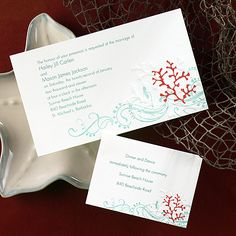 Colorful Coral A Teal Flourish Appears Like Waves Rolling Over An Embossed Reef InvitationsBeach Wedding