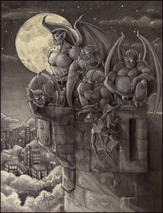 Goliath from 'Gargoyles' by litterbugger on DeviantArt Gargoyles Cartoon, Gargoyles Characters, Disney Gargoyles, Gargoyle Tattoo, Statues, Le Clan, Sculptures, Lion Sculpture, Arte Obscura