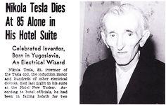 Anuncio en los periódicos del fallecimiento del «Mago de la Electricidad». #Tesla
