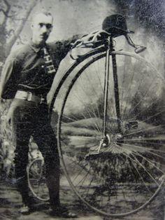 Antique-Tintype-Photograph-Man-with-High-Wheel-Boneshaker-Bicycle