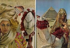 Vogue August 1965 In 1965, Vogue flew two of Paris' chicest women, Baronne Thierry van Zulen and Madame Jean-Claude Abreu, to Egypt to be photographed in the shadow of the Sphinx. While in Cairo the two stayed with their friend Madame Nahed Batanouni. On arrival at Giza they were greeted by bolts of shimmering fabric shipped from New York, huge hair pieces from Paris, and sculpted jewelry from Rome. The result was a series of fantastical images styled by the two Parisian beauties in the...