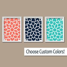 Coral Colored Wall Decor coral navy beige wall art, canvas or prints bedroom pictures