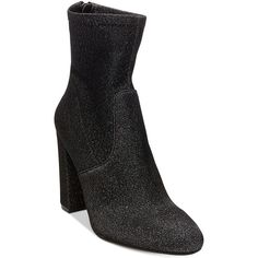 Steve Madden Brisk Block-Heel Sock Booties ($59) ❤ liked on Polyvore featuring shoes, boots, ankle booties, metallic, block heel boots, bootie boots, ankle boots, metallic boots and block heel booties