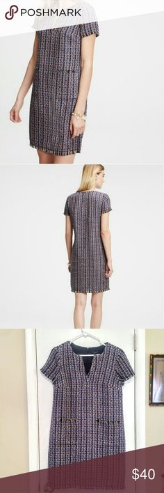 "NWT ANN TAYLOR Tweed Shift Chanel inspired tweed shift with flattering split neck line. Never worn. Measurements lying flat:  Pit to pit 18.5"", Hip 20"", Shoulder to hem 35"". Ann Taylor Dresses"