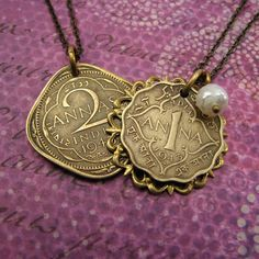 His and Hers set  Indian coin necklaces by AdornmentsNYC on Etsy #india