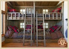 Still dreaming of a rustic bunkhouse like this. Make the bottom bunks double for couple sleepovers.  Love this.
