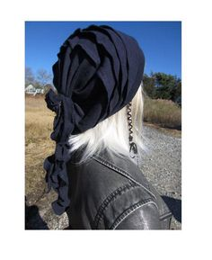 3e3b5f2ed57 Ladies Fashion Hats Navy Blue Slouch Beanies Cashmere Blend Rag Tie Rose  Back Tam A1444 by