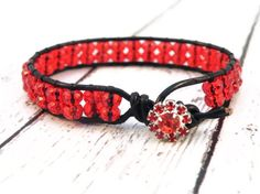 Firecracker Red Ruby Leather Wrap Bracelet with Red by GloryGift, $37.00