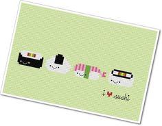 "Kawaii ""I Heart Sushi"" PDF Cross Stitch Pattern. $4.00, via Etsy."
