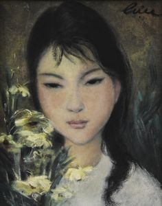 Lê Thị Lựu (1911-1988), Girl with Flower, signed, oil on silk, 22.5 by 17.5 cm; 8 3/4  by 6 3/4  in