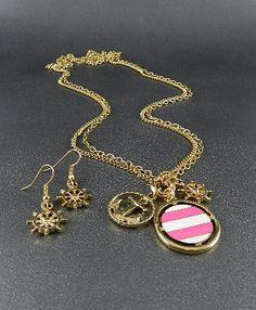 Anchor Stripe Bezel Long Necklace & Earring Set-Goldtone - Savvyconch