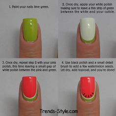 Watermelon Nails Tutorial -  Super Cute Watermelon Nail Design