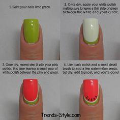 Watermelon Nails Tutorial -  Super Cute Watermelon Nail Design