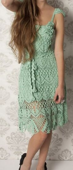 Crochet Skirts Tina's handicraft : summer crochet dress with straps Crochet Summer Dresses, Summer Dress Patterns, Black Crochet Dress, Crochet Skirts, Crochet Clothes, Knit Dress, Lace Dress, Moda Crochet, Crochet Lace