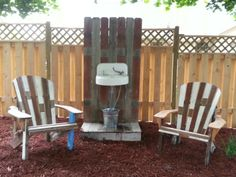 Adirondack chairs and fountain from repurposed fencing.