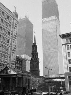World Trade Center Twin Towers Construction, New York City, New York, c.1971